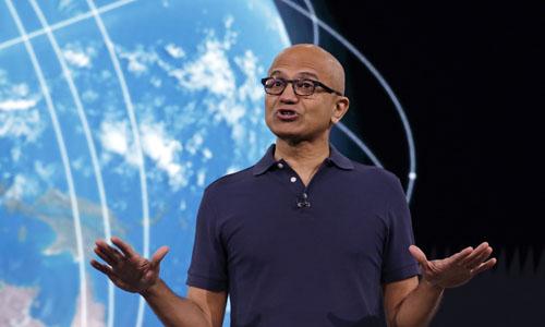 Microsoft CEO Satya Nadella delivering the keynote address at Build